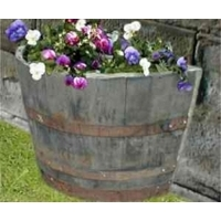"28"" Half Moon Natural Finish Oak Tub Barrel Planter"