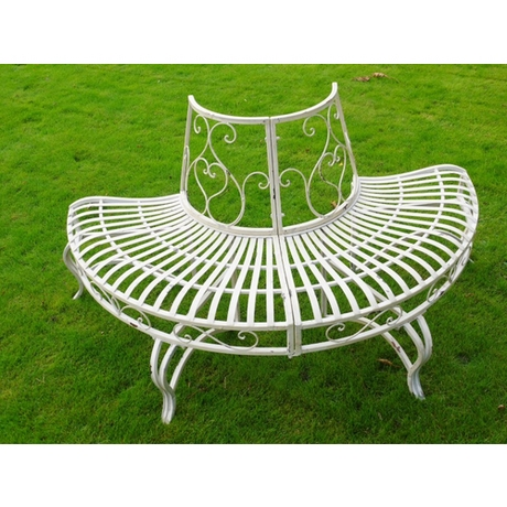 Half Round Metal Tree Seat - Garden Bench
