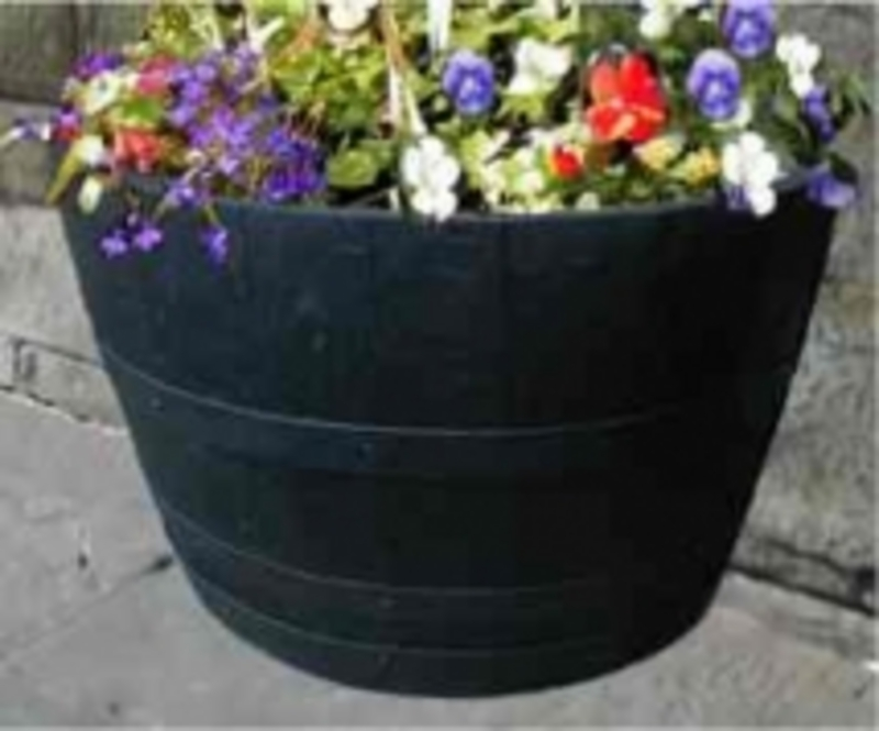 Barrel Garden 27 Half Moon Dark Stained Oak Tub Barrel Planter
