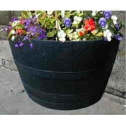 "27"" Half Moon Dark Stained Oak Tub Barrel Planter"