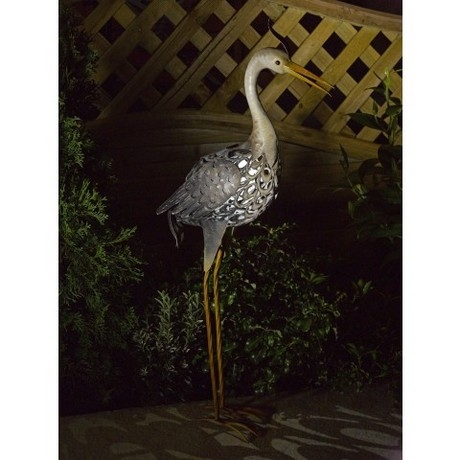 Metal Silhouette Heron Solar Light