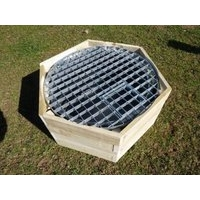 Hexagonal Timber Patio Box + Pool + Grid - 90L