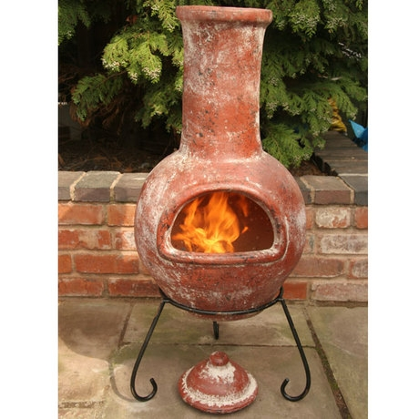 Colima Red Glazed Clay Mexican Chimenea - Large