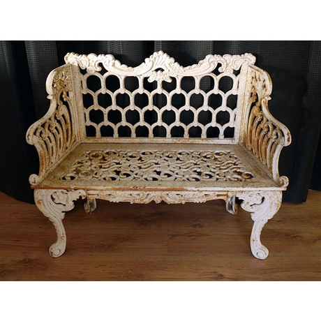 Horse Shoe Victorian Garden Bench - Antique White