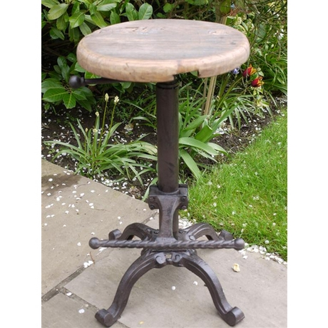 Iron Bar Stool With Wooden Top