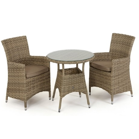 Maze Rattan - Natural Milan 2 Seat Round Bistro Set - Dining Chairs - Beige or Green Cushions
