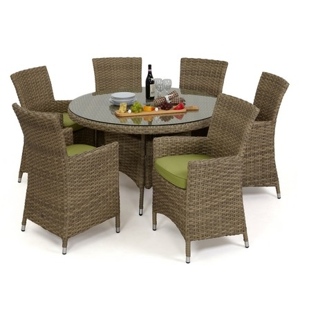 Attirant Maze Rattan   Natural Milan 6 Seat Round Dining Set Beige Or Green Cushions  Dining Chair