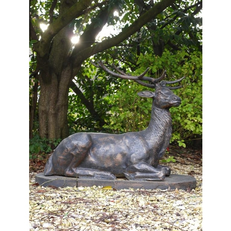 Laying Stag Cast Iron Statue