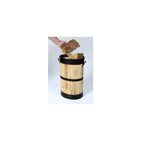 Log / Coal Oval Storage Barrel - Black Hoops