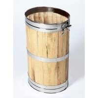 Log / Coal Oval Storage Barrel - Stainless Steel Hoops