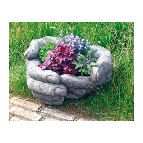 Cupped Hands Contemporary Stone Planter