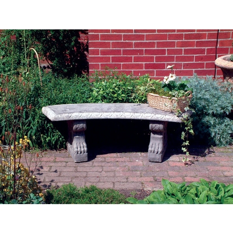 Curved Stone Bench With Scroll Leg Supports