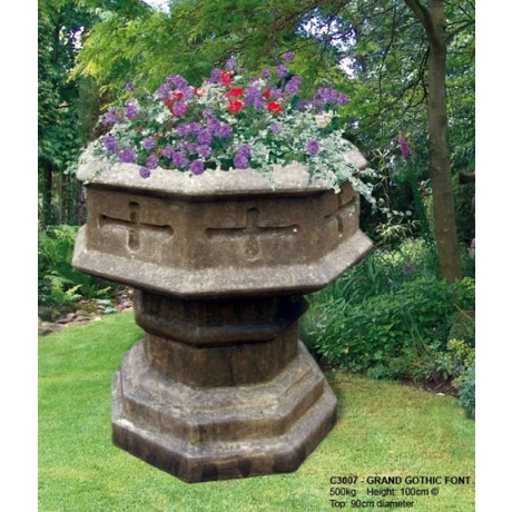 Grand Gothic Font Cotswold Stone Planter