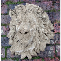 Grand Lions Head Wall Plaque - Stone Sculpture