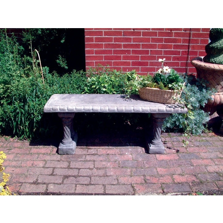 Straight Stone Bench With Column Base Supports