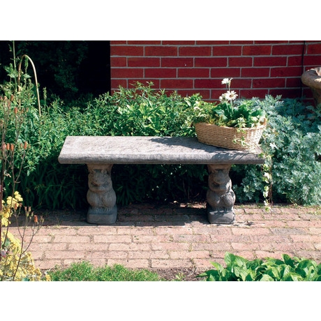 Straight Stone Bench With Squirrel Base Supports