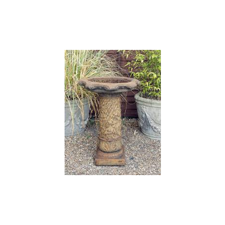 Vine Bird Bath Ornate Bowl - Burnt Umber