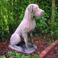 Male Great Dane Dog Stone Statue