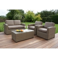 Maze Rattan - Natural Milan Kingston 2 Seat Sofa Set Green or Beige Cushions