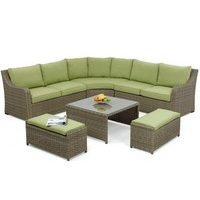 Maze Rattan - Natural Milan Corner Sofa Set Green or Beige Cushions