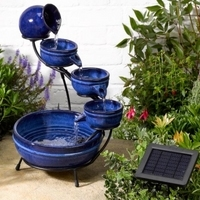 Ceramic Blue Neptune Cascading Solar Water Feature