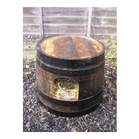 Oak Barrel Kitty Kennel - Dark