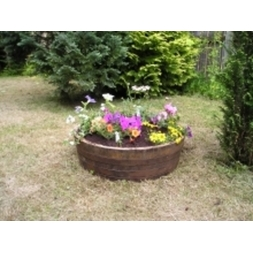 "24"" Shallow Oak Tub Planter Natural Finish"