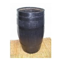 Tall Barrel Planter - Dark Stained Finish