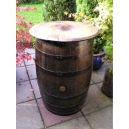 Whiskey Barrel Table Dark Varnish