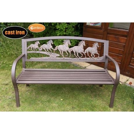 Countryside Cast Iron Bench With Horse Motive