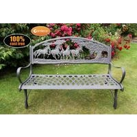 Countryside Cast Iron Bench With Horses & Tree Motive