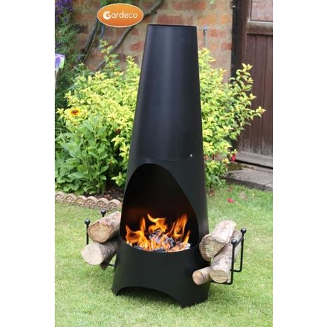 Oslo Stove Enammelled Steel Garden Fireplace - Black