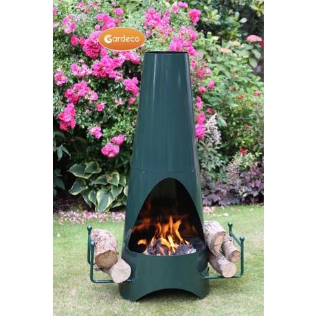 Oslo Stove Enammelled Steel Garden Fireplace - Green