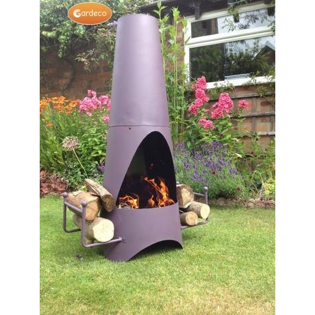 Oslo Stove Enammelled Steel Garden Fireplace - Purple