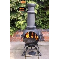 Toledo Large Cast Iron Chimenea With Grill - Black