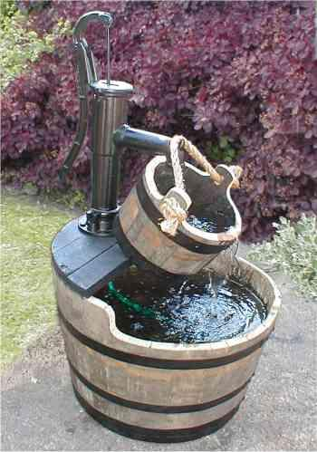 Barrel Garden Village Pump Water Garden With Bucket