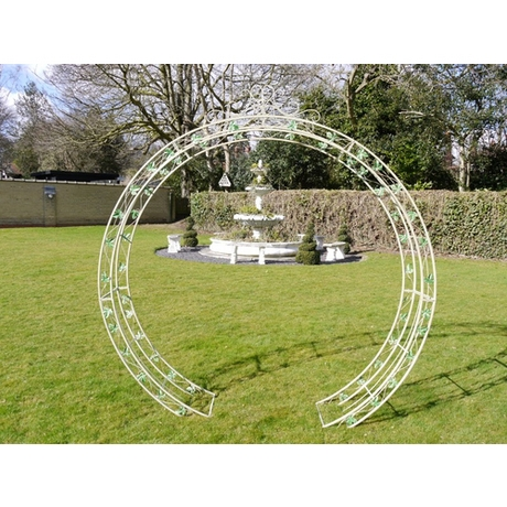 Round Garden Rose Arch - Cream Metal