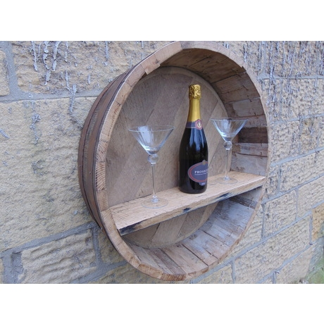 Shallow Wall Display Barrel With Bottle Shelf