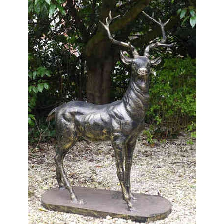 Standing Stag Cast Iron Statue - Left Facing