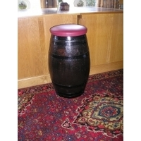 Tall Barrel Stool - Faux Leather Seat