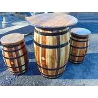 Tasmanian Oak Barrel Table With 2 Stools Set  Light Finish