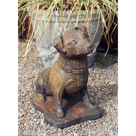 Terrier -  Ornamental Stone Dog - Burnt Umber