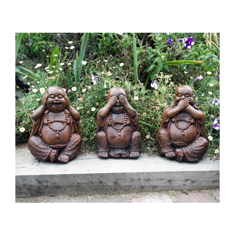 Three Wise Buddha Stone Statues - Burnt Umber