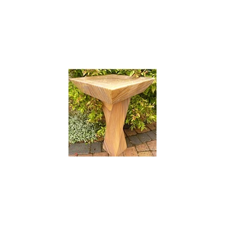 Rainbow Sandstone Square Bird Bath - Twisted Plinth
