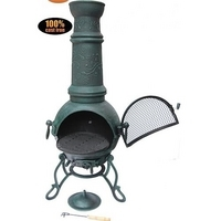 Toledo Large Cast Iron Verdigris Chimenea With Flowers & Grill