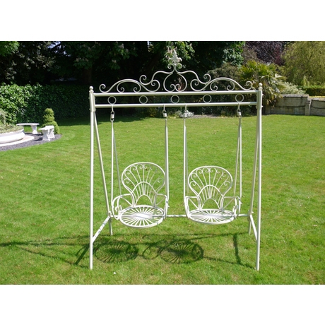 Two Chair Metal Garden Swing Seat - Cream