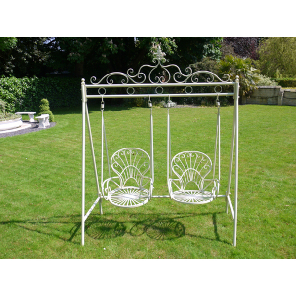 Two Chair Metal Garden Swing Seat   Cream
