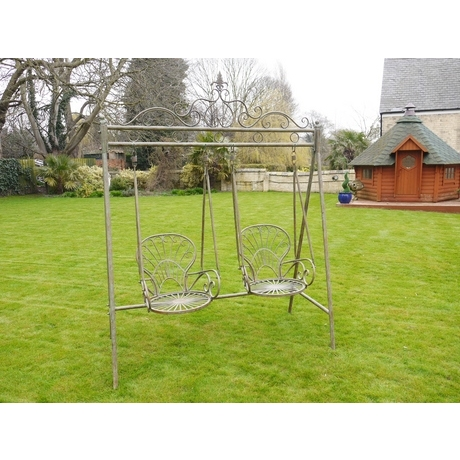 Two Chair Metal Garden Swing Seat - Rustic