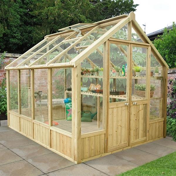 Barrel garden vale greenhouse 10x8ft for Octagonal greenhouse plans