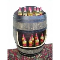 Rustic Oak Wall Barrel - Bottled Drinks Display Cabinet